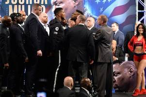 anthony joshua branded 'prima donna' by jarrell miller during heated face-off