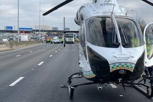 M25 traffic: Road closed as air ambulance lands at the scene of a serious crash