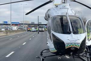person airlifted to hospital from m25 crash with 'potentially serious injuries'