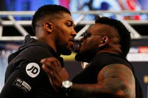 the moment anthony joshua is pushed by jarrell miller at fiery new york press conference