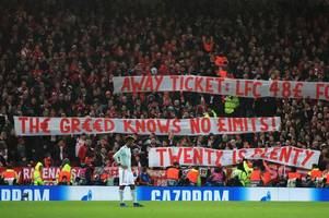 the bayern munich banner which had liverpool supporters on their feet