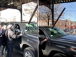 when infrastructure attracks: car impaled by 7 train track debris in queens