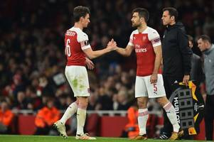 arsenal captain laurent koscielny forced off with injury in bate borisov europa league tie