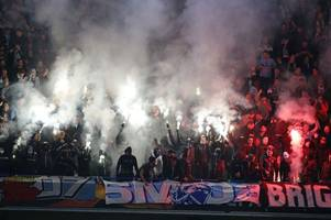 in pictures: away fans smuggle in flares into stamford bridge for chelsea vs malmo