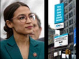 shadowy conservative group puts up two more 'wack' anti-aoc billboards in times square