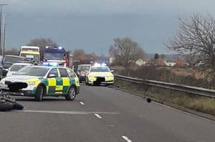 Pictures show aftermath of crash which closed busy dual carriageway in Somerset