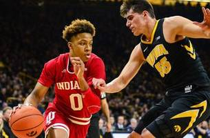 indiana falls in overtime to no. 21 iowa 76-70