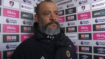bournemouth 1-1 wolves: nuno won't criticise referee east