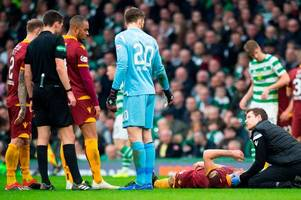 carl mchugh gets all clear after motherwell captain's horror head clash against celtic
