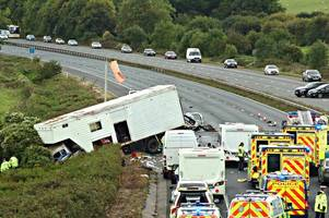 inquest hears 'catastrophic' events of m5 crash that killed five near the gloucestershire border