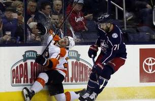 jones scores in ot to lift blue jackets over flyers 4-3