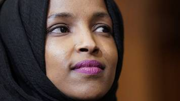 ilhan omar condemns 'anti-muslim' poster at republican event