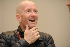 olympic ski-jumper eddie the eagle's inspiring words as he lands in scunthorpe