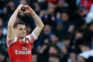 granit xhaka sets new record with shock goal to beat manchester united's david de gea