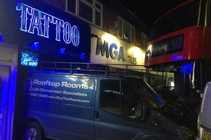 watch: video shows the moment a bus ploughed towards chingford tattoo parlour