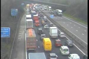 m5 crash between a lorry and two cars causes major delays on motorway in worcestershire