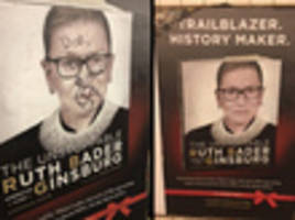 nypd hate crime unit investigating anti-semitic vandalism of ruth bader ginsburg subway poster