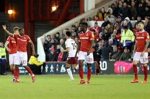 nottingham forest's four-match winning run at city ground ended by aston villa