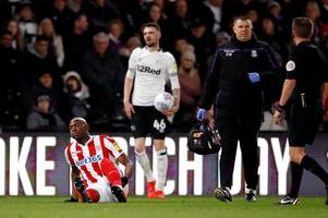 stoke city top scorer forced off with injury at derby county