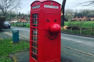 red nose day makeover for compton phone box