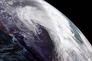 Satellite images show the nightmare bomb cyclone whirling across the US