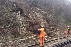 Pictures show Wadhurst landslip which has closed Southeastern railway line between Tunbridge Wells and Robertsbridge