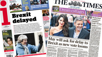 Scotland's papers: Brexit delays and Clooneys visit Edinburgh