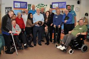 football legend joins care home residents to help raise awareness of dementia