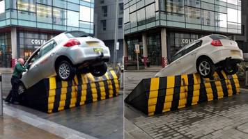 media city barrier mix-up leaves cars trapped