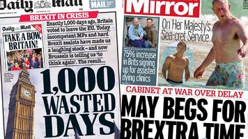 newspaper headlines: brexit 'crisis' and prince charles' beach body
