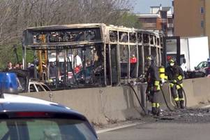 miracle escape for 51 italian schoolkids after driver torches bus