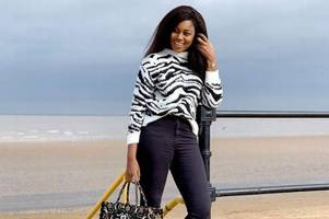 African actress Yvonne Nelson appears on Cleethorpes seafront with a £2k tote bag