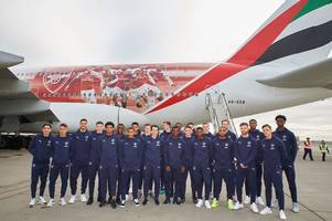 arsenal's 23-man squad revealed for dubai training camp as nine youngsters fly out