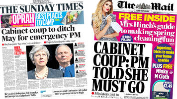 Newspaper headlines: Cabinet 'coup' and speedboat killer 'to return to UK'