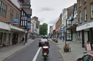 man stabbed in shrewsbury town centre in broad daylight at 8.30am sparking police hunt for two men