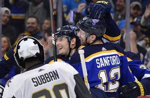 blues defeat golden knights 3-1 to complete perfect four-game homestand