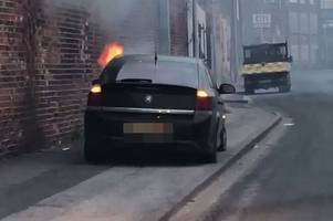 dramatic moment car bursts into flames in wincolmlee