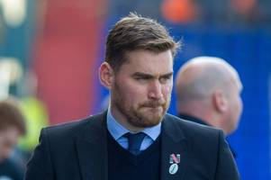 michael jolley reacts to grimsby town's 2-0 defeat to oldham athletic in league two