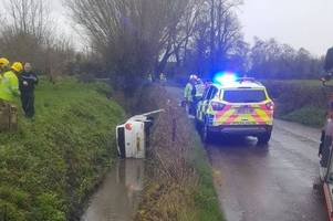 air ambulance called after car rolls into water filled ditch in alveston