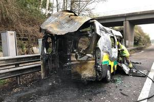 oxygen cylinders explode as ambulance incinerated in m42 fire