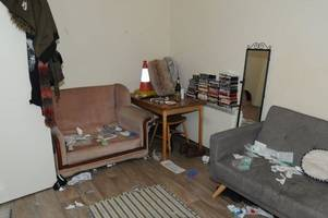 inside the scruffy flat where knives were 'stashed', drugs were taken and jack delany was tragically stabbed