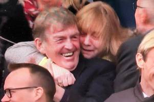 kenny dalglish and hillsborough campaigner in emotional embrace on day liverpool honours the 96