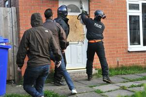 watch as police smash way into house using chainsaw during two stoke-on-trent monkey dust raids