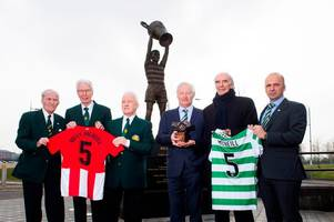 celtic legends accept billy mcneill's prestigious 'one club man' award on behalf of hoops icon