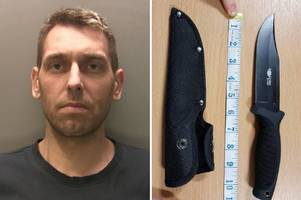 man found carrying ten inch hunting knife in newport