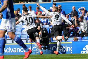 goals galore as derby county and birmingham city go in level at half-time