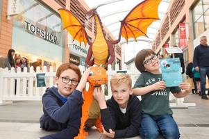 thousands flock to west lothian to see enormous lego-brick dragon