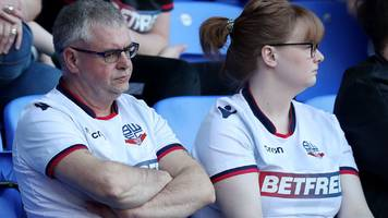 bolton relegated from championship with defeat by villa