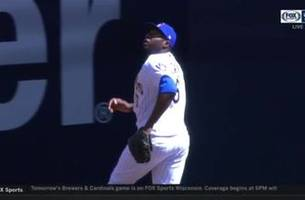 watch: brewers' cain makes catch at wall, hits home run