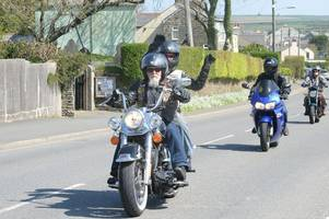 Masons on bikes hand out chocolate during annual Cornwall Easter Egg Run